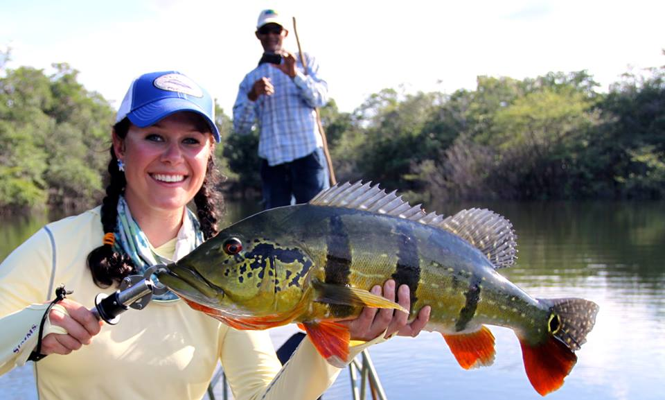 Fly fishing photo camille egdorf with an amazon peacock for Amazon fly fishing