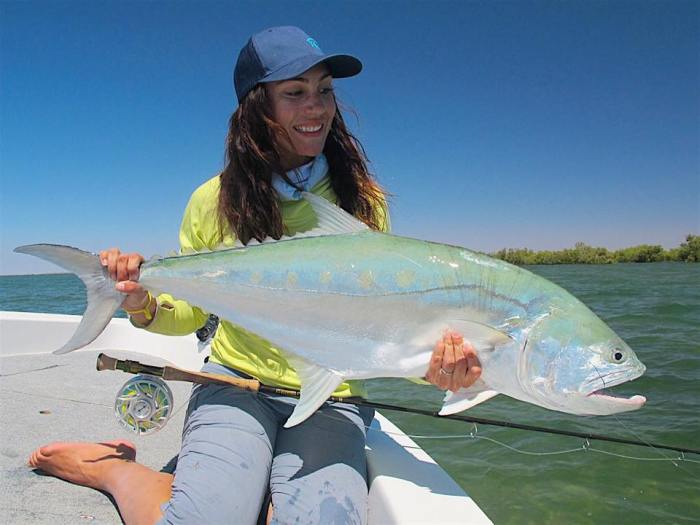 April Vokey with a queenfish in Australia (Credit: Jono Shales)