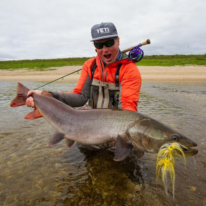 Jako Lucas with a nice taimen in Siberia (Ph: Keith Rose-Innes)