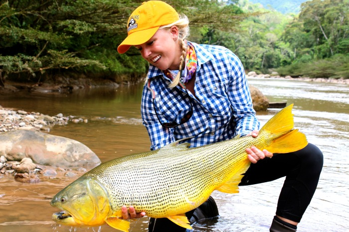 Bessie Hudgens fly fishing golden dorado
